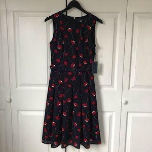 NWT Tommy Hilfiger navy belted flower dress size 4